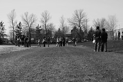 The Clean-Up (Gamma-Ray Productions) Tags: people blackandwhite canada students monochrome spring ottawa sunny april groundlevel gravel runningtrack stonedust merivalehighschool