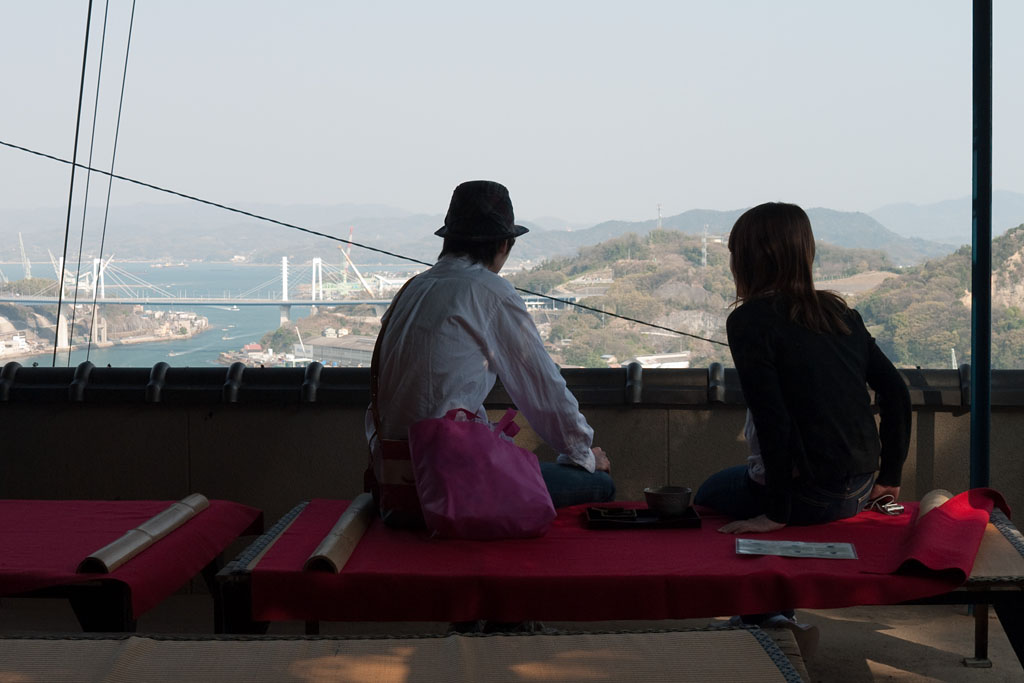 lovers looking at the view of Onomichi.