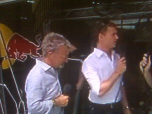 Eddie Jordan in Mykita at Bahrain GP with David Coulthard