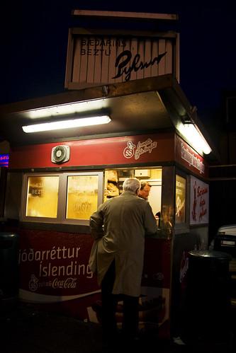 hot dog stand at night