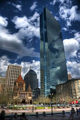 John Hancock Tower (Werner Kunz) Tags: world city trip travel blue vacation sky urban usa cloud sun white house holiday building boston skyline architecture clouds america photoshop ma town us interestingness nikon day unitedstates cloudy massachusetts urlaub north cyan newengland himmel wolken haus wideangle center explore american stadt architektur northamerica 40 blau amerika sonne weiss dri hdr hdri werner reise gebaeude beantown metropole kunz photomatix vereinigtestaaten nordamerika vereinigtestaatenvonamerika 20fav explored colorefex nikond90 nikond40x topazadjust updatecollection werkunz1