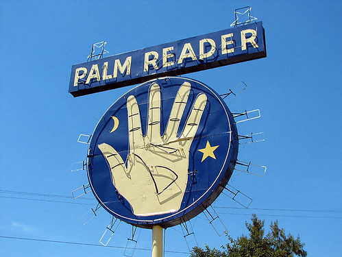 Neon Palm Reader sign - Fowler, California
