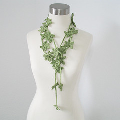 Petite Leaves Garland - Women Cotton Blend All Season, Spring, Summer Neck Garland Fiber/Necklace/Fiber Jewelry in Green Sage (kanokwalee) Tags: light summer green nature leaves forest scarf leaf spring handmade unique crochet lariat necktie whimsical allseason scarflette cottonblend fiberjewelry fibernecklace
