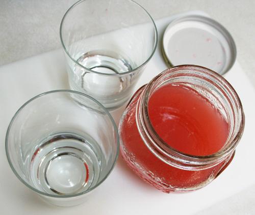 making rhubarb sodas