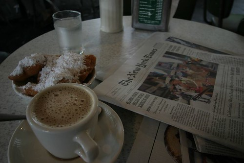A Local Classic: Beignets and café au lait at the Café Du Monde, New Orleans.