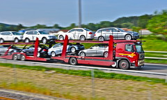Volvo Lastwagen, BMW's including chauffeur - Galliker car carrier heading west (Polo Scher) Tags: road motion speed truck schweiz switzerland volvo moving movement highway suisse swiss transport autobahn transportation bewegung bmw svizzera ontheroad semitruck trucking n1 lastwagen carcarrier lkw geschwindigkeit roadtransport autotransporter sattelzug galliker swisstruck lastwage gallikertransport