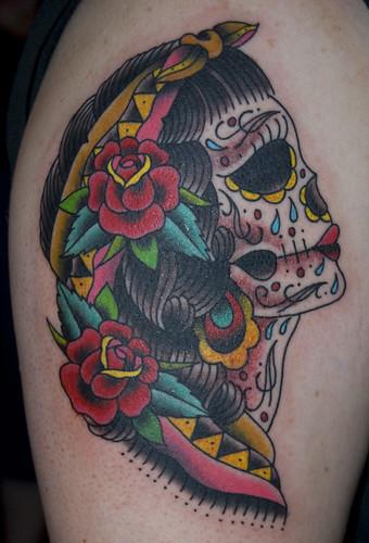 Custom Bride Sugar Skull Tattoo by Mikey Slater