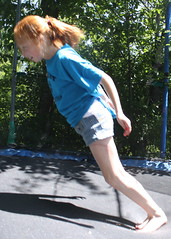 Maddie on the Trampoline doing a Backflip