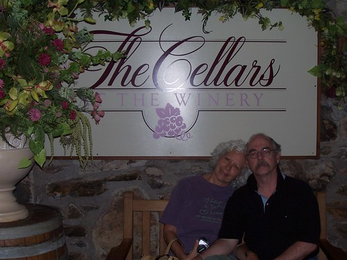 mom and jim in the cellar winery at biltmore