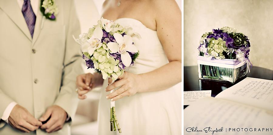 Vintage wedding details, white, purple tie and lime green hydrangeas