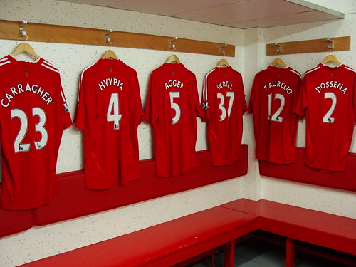 The Anfield dressing room, home of Liverpool FC, and the shirts of Jamie Carragher, Sami Hyypia, Daniel Agger, Martin Skrtel, Fabio Aurelio and Andrea Dossena