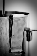 scarred jug (mic.jo'mo) Tags: blackandwhite bw macro kitchen coffee metal closeup bar contrast canon vintage studio blackwhite cafe steel perspective kaffee 100mm used sw espresso thermometer kche damaged makro metall barista tabletop perspektive milkjug edelstahl milchknnchen tabeltop zubereitung studiofotografie nopics benutzt heavyuse ingebrauch liquidinglassthermometer