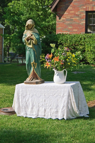 Corpus Christi Procession at Sacred Heart Roman Catholic Church, in Florissant, Missouri, USA - devotional shrine along route