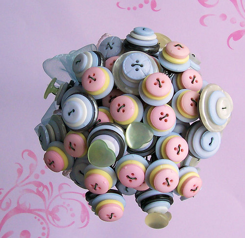 Pastel Pink and Blue Wedding Button Bouquet