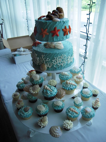 Under the Sea wedding cake & cupcakes