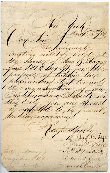 1858 ANS Sage invitation