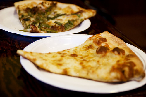 cheese pizza and asparagus and beef