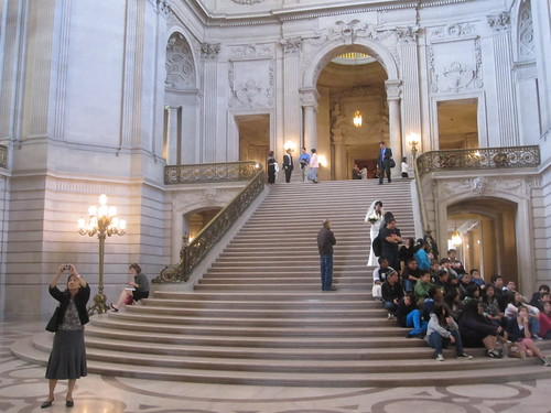 the steps of City Hall