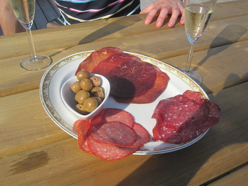 Charcuterie and olive with bubbly on my terrasse
