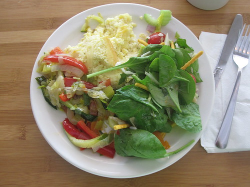 salad, veggies, omelet from the bistro - $6