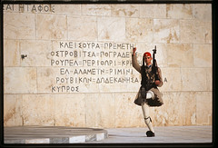 Athens. Evzon at the tomb of the unknown soldier