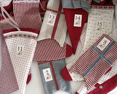good-bye advent calendar (Lottakind) Tags: blue red white socks advent calendar sewing flag style tape danish ribbon dots checks maileg kraemerhuse