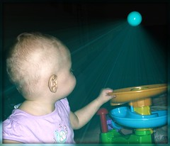 magic ball popper (mamaheartsbugsy) Tags: blue light baby girl ball profile pop midair popper picnik suspendedinair