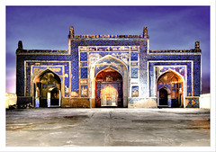 Khudabad Mosque Front View. (Commoner28th) Tags: blue building heritage history architecture night sharif design long exposure arch muslim islam mosque dadu ahmed kashi sind sindh csa agha mughal masjed waseem pakistanrailway commoner talpur pakistanrailways kalhora kommoner commoner28th sehwen khudabad ocommoner28th