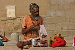 Sadhu at bank of Ganga River   Varanasi, India (marcusfornell) Tags: india religious marcus god indian prayer praying culture varanasi ritual hindu hinduism indien pilgrimage pilgrim ganga sadhu ganges mela benares ghat uttarpradesh banares gangariver holyness kumbh fornell