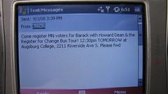 Barack Obama Text Message - 09/03/08 - Registe...