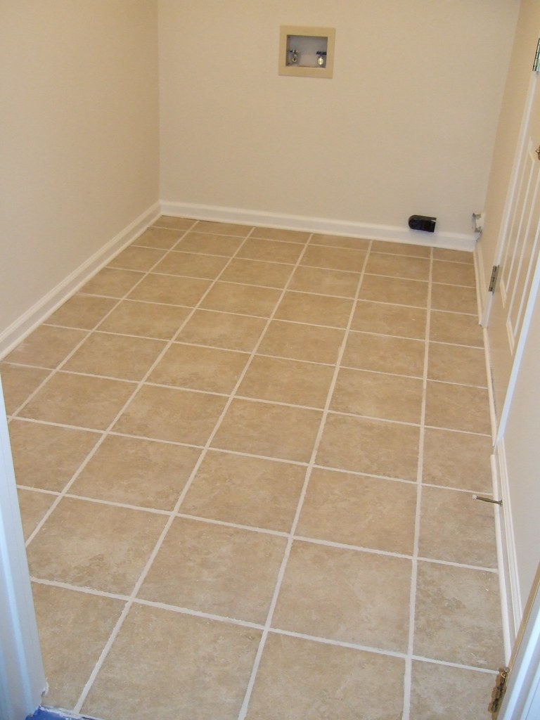 Laundry with finished tile