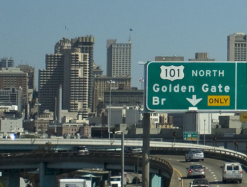 Entering San Francisco from a highway
