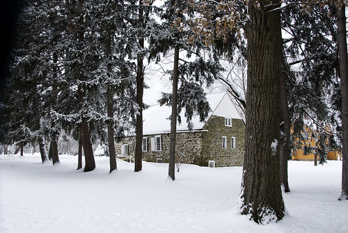 Bevier house in the snow