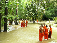 Monks enjoying the Tad Sae waterfall (Bn) Tags: picnic laos topf100 luangprabang rainyseason robinsoncrusoe 100faves limestonesteps tadsaewaterfall namkhnariver numerouscascades manyponds veryscenicwaterfall monksatwaterfall bathingandswimming holidayenenjoying relaxandswim