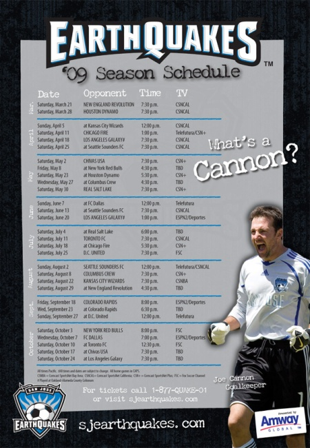 Earthquakes 09 Schedule