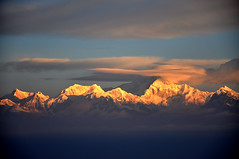 Kanchenjunga, Darjeeling India (Laura Dunn-Mark) Tags: travel panorama india mountain snow mountains sunrise dawn site high view altitude hills sacred peaks 2008 darjeeling himalayas hillstation westbengal tigerhill kanchenjunga kanchenjanga lauradunnmark khangchendzonga thirdhighest kachendzonga sewalungma kangchanfanga sitetravel