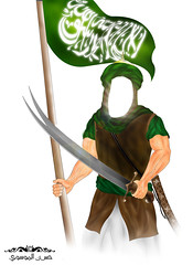 imam ali in war_    (70hassan07) Tags: brown green war flag islam iraq ali strong hassan  islamic imam  warior         sowrd            weapone