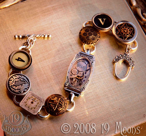DEJA VU Antique Button Watch Typewriter Key Steampunk Bracelet by 19 Moons