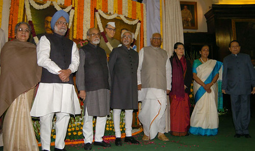 with Ex-PM IK Gujral, Somnath Chaterji and Sonia Gandhi