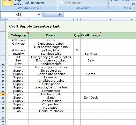 supply inventory sheet