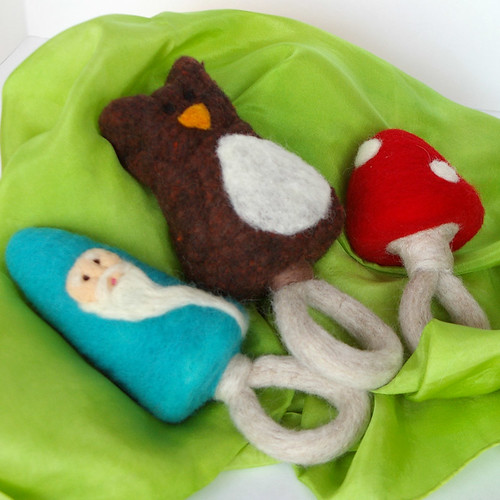 Woodland Collection: All Natural Felted Baby Rattles