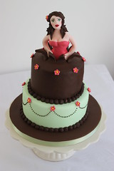 'Woman Jumping Out of a Cake' Cake (ConsumedbyCake) Tags: birthday pink woman green cakes girl cookies cake lady out 40th cupcakes worthing lemon jumping hand chocolate painted ganache details royal celebration 1940s figure icing pinup stacked topper curd fondant buttercream bursting modelled piped brownflowers consumedbycake
