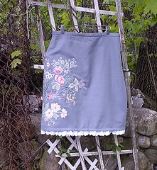 Upcycled Wool Pencil Skirt (Green Carbon) Tags: flowers wool floral ma grey recycled handmade lace massachusetts gray skirt etsy applique sewn repurposed upcycled amylyn thequiltedpet greencarbon