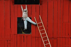 Hang In There.  The Weekend Is Almost Here. (rickhanger) Tags: barn hanging ladder fabulous stress redbarn ohcrap dilemma artcafe blueribbonwinner otw anawesomeshot rickhanger