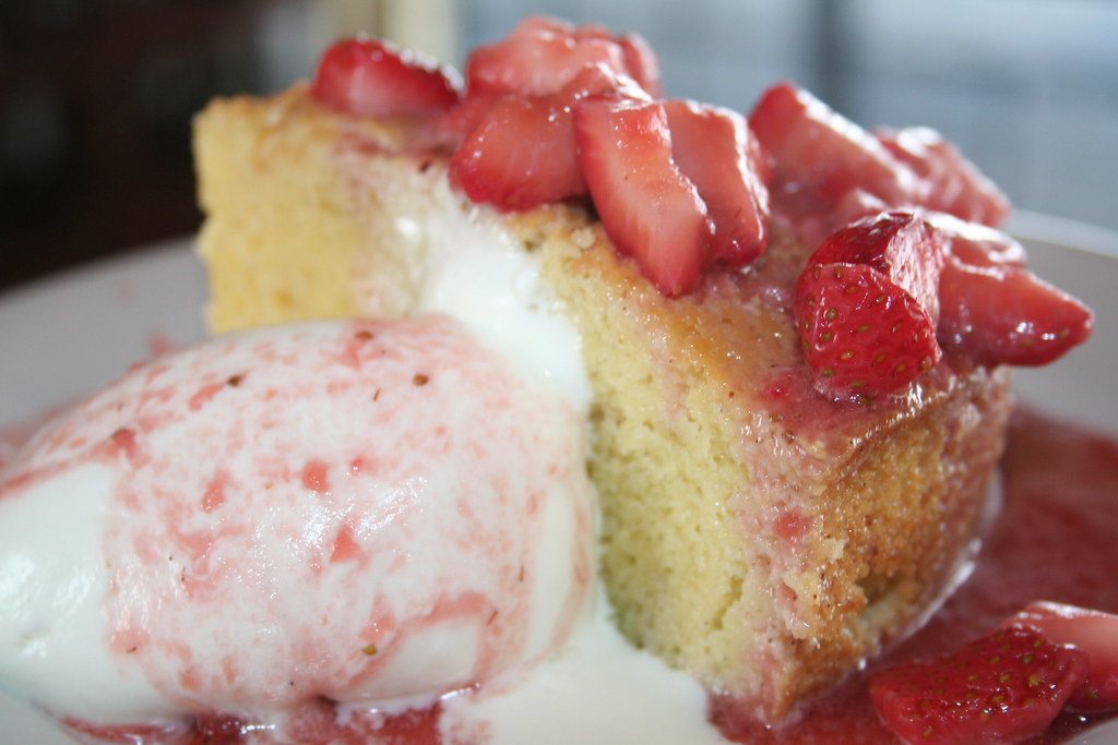 Tres Leches with Strawberries & Whipped Cream