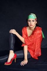 sim cox by Jessica Truscott (11) (Jessica Truscott) Tags: red black green leather fashion scarf studio leggings truscott faephotogrpahy pleasther