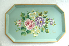 Pretty Vintage Tole Tray (such pretty things) Tags: old flowers roses floral vintage aqua hand antique pastel painted tray tole shabbychic toleware