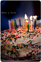 Make A Wish - The Cake (Brandon Christopher Warren) Tags: pink blue orange green yellow cake canon candles flame sprinkles 2009 revision 70200mm makeawish bestideaever isusm eos5dmarkii