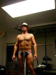 6 8 09 (IMAllen) Tags: portrait hairy hat self chest basement bum aussie speedos boonie