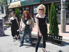 Life imitates art imitating life (zJMac) Tags: world life street windows light shadow summer sculpture sun sunlight ontario canada black hot mannequin girl sunglasses yellow statue stone wall standing canon pose hair living daylight big still colorful day shadows view bright wind body live ottawa low watching floating sunny fair richmond clear suit human figure blonde stare salon lonely unusual placement shoulder westboro motionless 2009 imitating westfest imitation realistic zfav zjmac